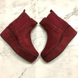 Burgundy Suede Women's Platform Ankle Booties Red